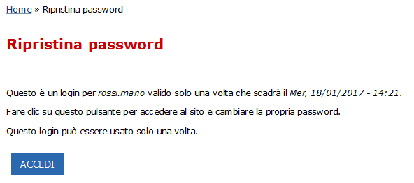 Ripristina password